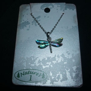 NATURE'S 1 Dragonfly Necklace PAUA Shell Abalone